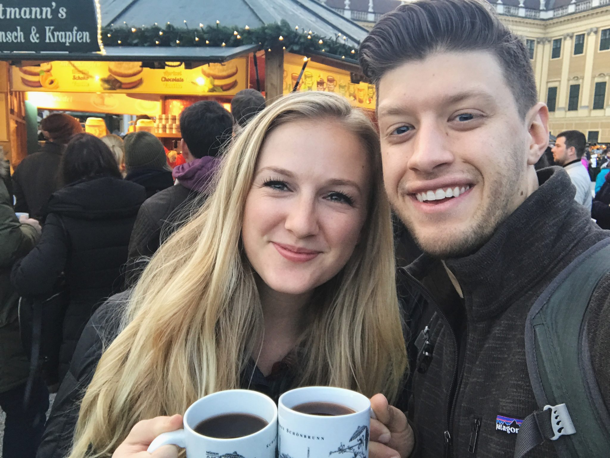 Drinking mulled wine at Vienna Christmas Market