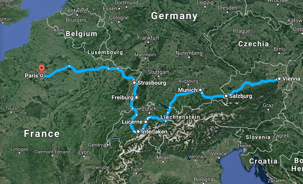 Road Trip through Central Europe Map