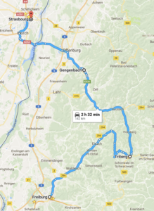 Map - Freiburg, Black Forest to Strasbourg, France
