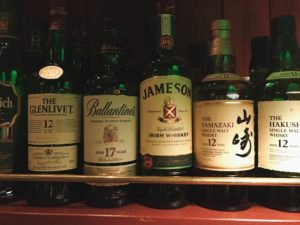 Whiskey selection at Bar None, Dotonbori, Osaka